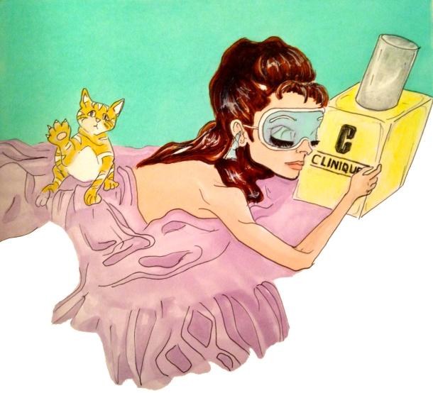 Fashion-Illutration-by-jamiesofia-sparklefromwords-audrey-hepburn-loves-clinique-cat